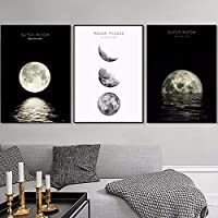 プリント抽象ムーンフェイズキャンバス絵画ムーンポスター白黒ウォールアート写真用リビングルームホームオフィスの装飾50×70センチ