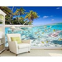 Ljjlm 寝室のテレビの壁の防水ビニールのために海の壁紙水中世界の海岸壁画をカスタマイズ-260X180CM