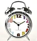 ツインベル夜ランプ 目覚まし時計 バックライト付き 金属製時計 大音量 アナログ 連続秒針 音がしない 4インチ カッパー 靑春版で