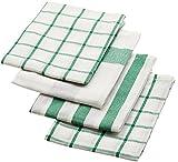 【 4ピース 】 IKEA ELLY 20277766 キッチンクロス ホワイト グリーン 50x65cm 新色