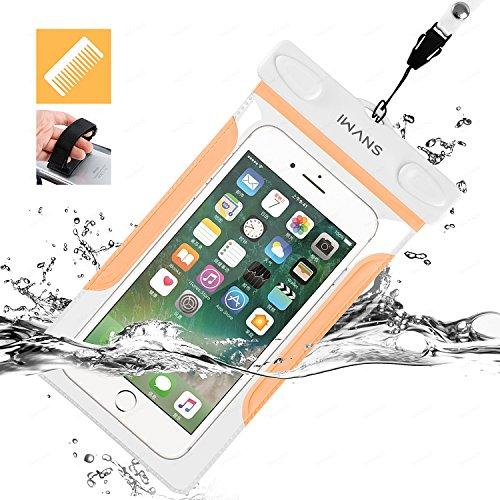 iWANS 防水ケース スマホ用防水ポーチ 防水等級IPX8 高感度PVCタッチスクリーン お風呂 温泉 潜水 5.5インチまでのiPhoneとAndroidスマホに対応可能 ORANGE