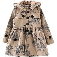 Mallimoda Girl's Hooded Trench Coat Jacket Dress Windbreaker Outwear
