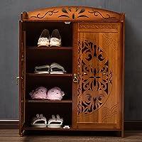 靴ラック竹スラット家庭ホーム多層防塵アセンブリ靴箱引き出し付き経済的なタイプの靴のベンチ100%天然竹靴の収納ラック (設計 : A)
