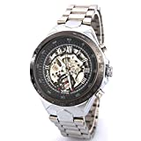2013newestsellerメンズブラックスケルトン自動機械ステンレススチールバンドスポーツ腕時計