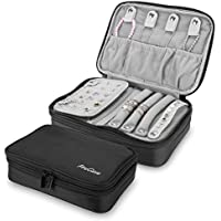 ProCase Travel Jewelry Case Organizer Bag, Soft Padded Double Layer Jewelry Carrying Pouch Portable Jewelry Storage Box Holder for Earrings, Rings, Necklaces, Bracelets, and Watches –Black