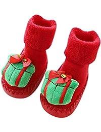 Kasumy 赤ちゃん少女少年 のクリスマスの漫画動物のプリントの床の靴下のスリッパの幼児の靴の床の靴下 耐摩耗性 柔らかい かわいい 出産祝い 0-24ヶ月