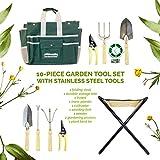 GardenHOME ガーデニングマスターツール10点セット【ステンレス製8点セット、折りたたみ式椅子と収納トート付き】