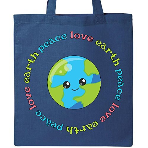 Inktastic Peace Love Earthトートバ...
