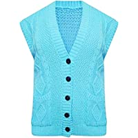 21FASHION Womens Sleeveless Cable Knitted Button Waistcoat Ladies Fancy Party Wear Grandad Pocket Cardigan