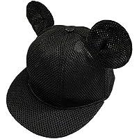 キッズ キャップ メッシュ黒52 こども用 マウス 耳付き 帽子 かわいい 黒ブラック マスキングテープ1個付