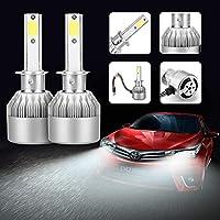FidgetGear 2×76W 7200LM COB H1 / C6車LEDヘッドライト電球変換キット6000Kホワイト