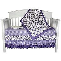 Bacati Zig Zag and Dots 4-in-1 Cotton Baby Crib Bedding Set Purple [並行輸入品]