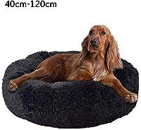 ソフトクッションドーナツカドラー、寝るために快適なラウンドネストウォームエクストラソフトぬいぐるみ、快適なペットベッドソファ、ブラック、60cm