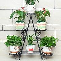 ZHANGHAIMING 金属の植物の立場、居間、オフィス3色のための3層の花の立場 (色 : ブラック)