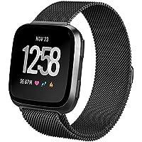 hooroor Compatible Bands Replacement for Fitbit Versa Smart Watch Women Men Small Large, Milanese Loop Stainless Steel Metal Sport Bracelet Strap Magnet Lock Wristbands