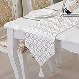 選べる こだわり テーブル ランナー おしゃれ リビング アジアン モダン 北欧 セレクト インテリア 雑貨 刺繍 幾何学 模様 デュベ ライナー カフェ タイプ B (250×33cm, シルバー)
