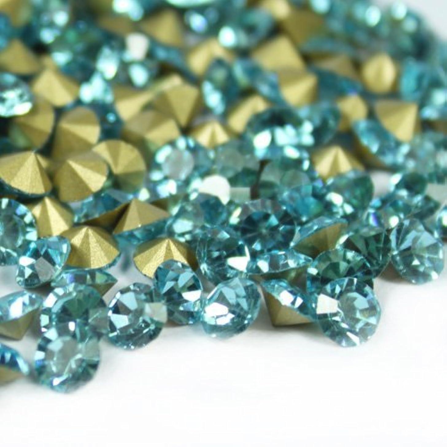 サスティーン同種の区別するガラス製 Vカットストーン(埋込型)アクアマリン 各サイズ選択可能 (4.0mm (SS16) 約1440粒) [並行輸入品]