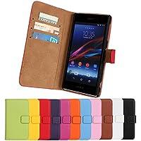 iCoverCase ソニー Sony Xperia Z1 SO-01F ドコモ / SOL23 au L39h 用 ケース 手帳型 平紋 レザー シンプル 携帯 カバー カードポケット スタンド機能 マグネット式 財布型 PCカバー【選べる11色】パープル