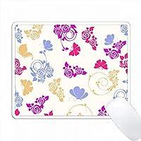 ライトブルー、パープル、ブライトピンクのバラと蝶の模様 PC Mouse Pad パソコン マウスパッド