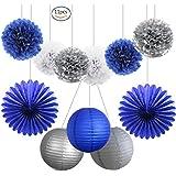 11PCS Navy Blue Silver Party Decoration - Tissue Paper Pom Poms Paper Lanterns Folding Fan for Wedding Baby Shower Decoration Bridal Shower Blue Silver First Birthday (Navy Blue,Silver,White)