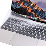 MOSISO Silicone Keyboard Cover Compatible MacBook Pro 13 Inch 2017 & 2016 Release A1708 Without Touch Bar, New MacBook 12 Inch A1534 Protective Skin, Clear
