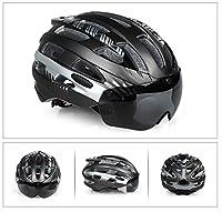 Liebeye ヘルメット 自転車 屋外用 ゴーグル付き ヘルメット サイクリング チタンシルバー M