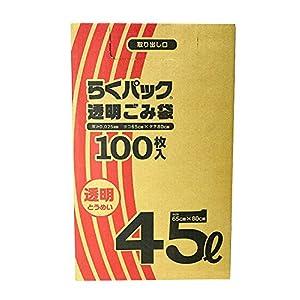 日本技研工業 らくパック ゴミ袋 透明 100枚入り 7個セット 伸びやすく裂けにくい 収納しやすい箱タイプ 中身が見える PS40TB 100枚入