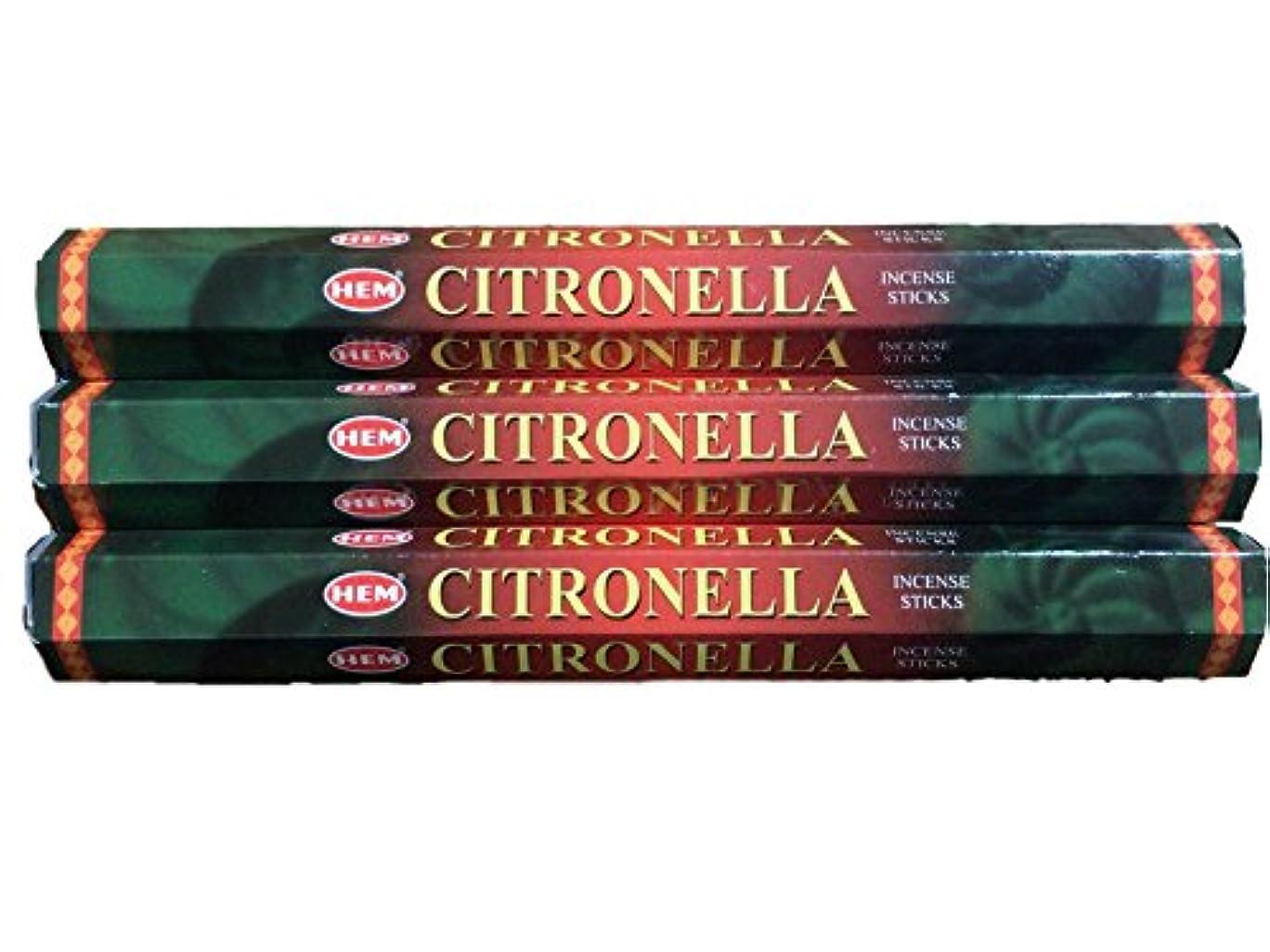 多年生反響する慣習HEM ヘム シトロネラ CITRONELLA ステック お香 3本 セット