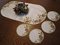 クリスマス  ( テーブルセンター コースター4枚付 松ぼっくり 楕円 )