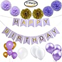 Party Tonight 37 Pcs Lavender Happy Birthday Bunting Banner with Gold LettersTissue paper Pom Pom FlowersLatex Balloons Great for All Birthdays Decoration Holidays Anniversary Baby Showers. 並行輸入品