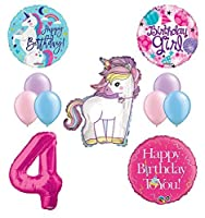 Unicorn 4th Birthday Girl Party Supplies and Balloon Decorations [並行輸入品]