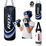 RDX Kids Punch Bag Unfilled Set Junior Kick Boxing Heavy MMA Training Youth Gloves Punching Mitts Hanging Chain Ceiling Hook Muay Thai Martial Arts 2FT