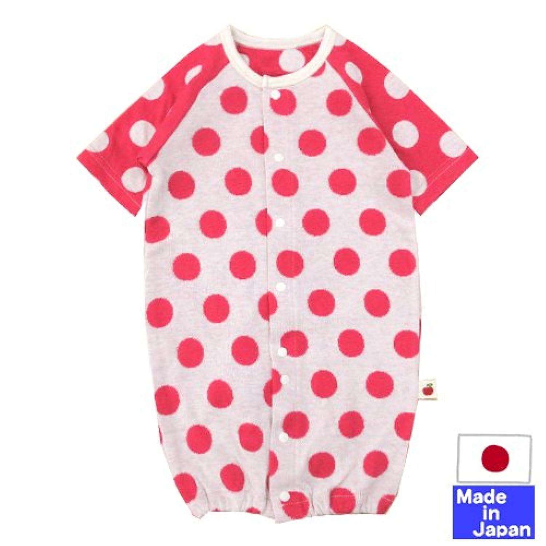 ◇日本製◇ 水玉七分袖ツーウェイオール(ラグラン袖?レッド)サイズ50-60cm