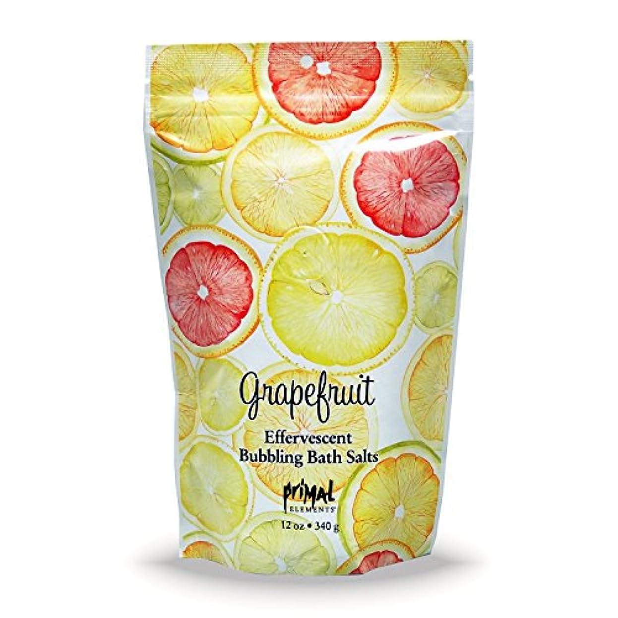 わざわざ直感甘味プライモールエレメンツ バブリング バスソルト/グレープフルーツ 340g エプソムソルト含有 アロマの香りがひろがる泡立つ入浴剤