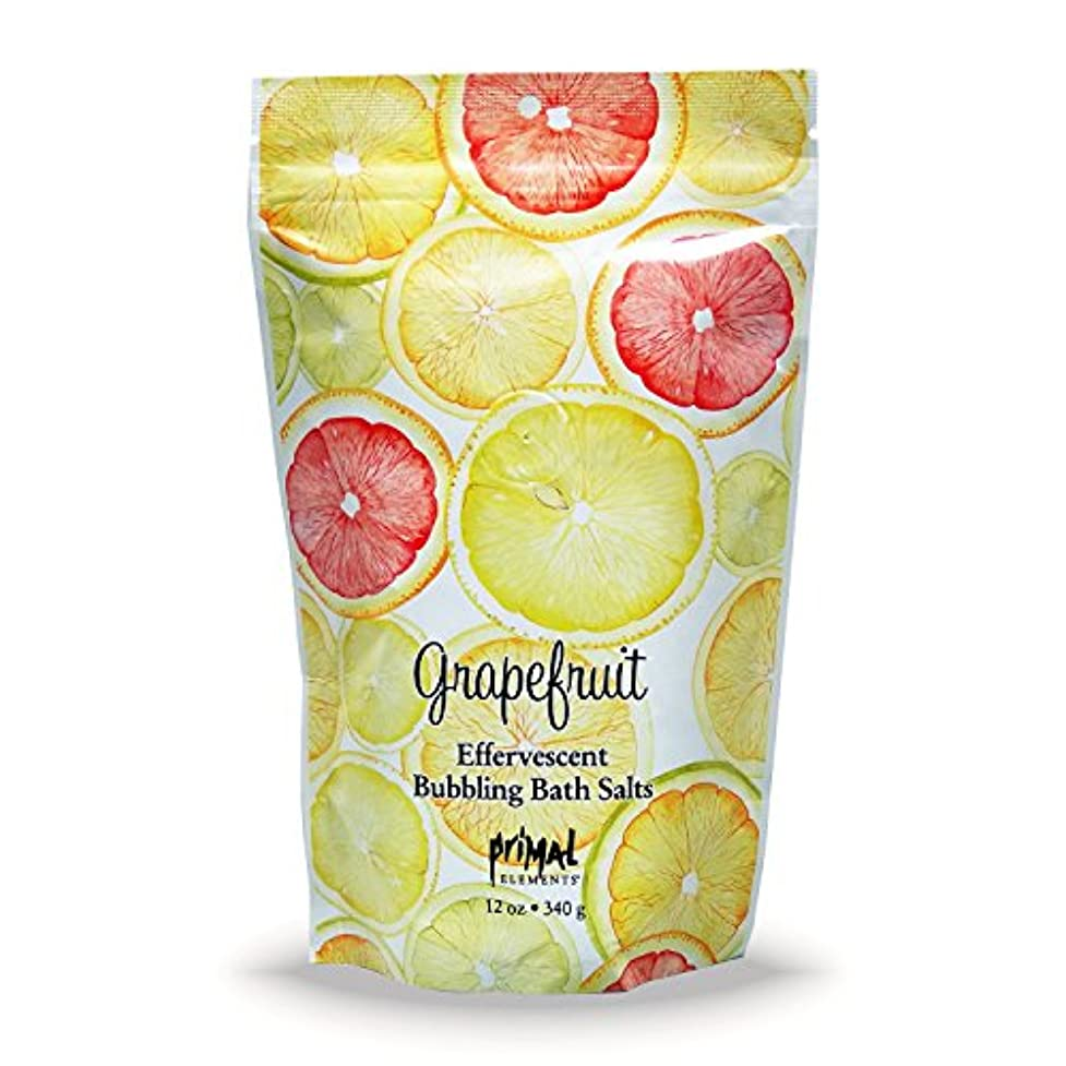 かける感謝するフルートプライモールエレメンツ バブリング バスソルト/グレープフルーツ 340g エプソムソルト含有 アロマの香りがひろがる泡立つ入浴剤