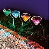 MedianField 【 led ガーデンライト 4個 セット 】 ダイヤモンド 型 ソーラー 充電 ledライト ソーラーライト 屋外 ガーデニング (七色)