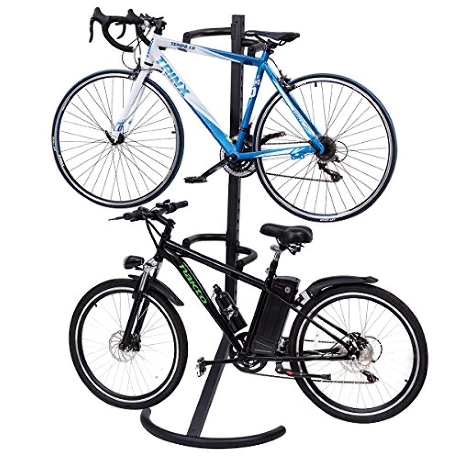 永久ラジウム札入れGJH 自立式重力自転車収納ラックスタンド 自転車2台収納 ディスプレイガレージハンガー