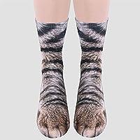 AMAA 袜子 动物足 斑马 象 狗 恐龙 虎 猫爪 3D印花 可爱 有趣 成人 儿童 亲子装 男女通用