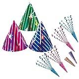 【パーティー用品】 3人用パーティーアイテムセット(三角帽3個&散らからないジュエルクラッカー6個)
