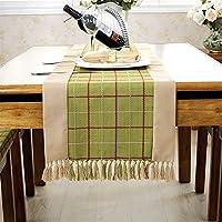 アメリカ 田園風 エレガント グリッド 刺繍 ライン タッセル テーブルランナー グリーン 38x180cm