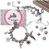 Charm Bracelet Making Kit DIY Craft European Bead Silver Plated Snake Chain Jewellery Gift Set For Girls Teens