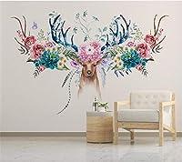 カスタム壁紙現代北欧花鹿頭花テレビの背景リビングルームの寝室の壁画3d壁紙-330*210cm