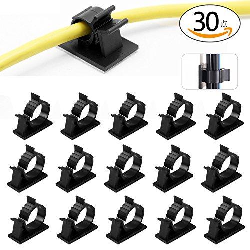 ANBURT ケーブルクリップ ケーブルホルダー ケーブル固定 コードクリップ 粘着シート付 便利 4階段調整可能 (30点セット)