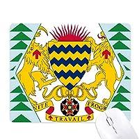 チャドの国章の国 オフィスグリーン松のゴムマウスパッド