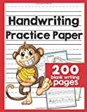 Handwriting Practice Paper 200 pages: 200 Blank Writing Pages - handwriting practice sheets : Kindergarten writing paper with lines : 8.5x11 inches - cute monkey (handwriting practice paper blank writing pages)