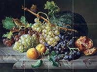 "Still Life with Pomegranate Grapes andメロンby Josef Lauerタイル壁画キッチンバスルーム壁後ろの油ストーブ範囲シンク止め板4x 34.25インチセラミック、光沢 4.25"" Ceramic, Matte I264__4x3_4.25iCerMat_Tile_Mural"