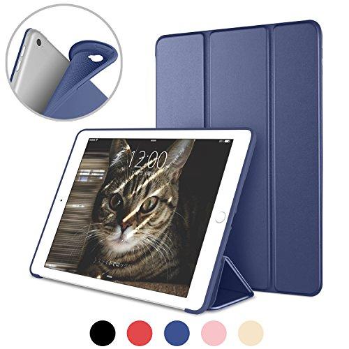 DTTO iPad Air2 ケース 超薄型 超軽量 生涯保証 TPU ソフト スマートカバー 三つ折り スタンド スマートキーボード対応 キズ防止 指紋防止 [オート スリープ/スリー プ解除] ネイビーブルー