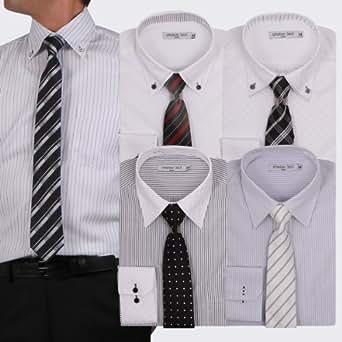 (アトリエサンロクゴ) atelier365 ワイシャツ 出来る男のドレスシャツ10点セット (ワイシャツ5枚/ネクタイ5本)/at105-zaiko-CSET-SM-3L-45-85