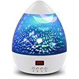 [ Newest Vision ]Star Light Rotating Projector, MOKOQI Night Lighting Star Moon Projection Lamp 4 LED Bulbs 4 Modes with Timer Auto Shut-Off & Hanging Strap for Kids Baby Bedroom (White)
