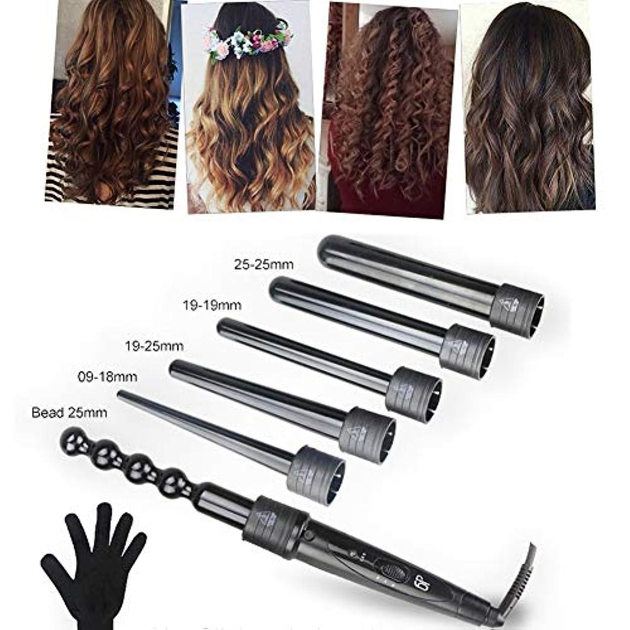 識字窒素接続されたヘアカーラー - 6で1カーリングアイロンセット、6髪交換カーラーセラミックバレ 耐熱手袋が付 ル用すべての髪